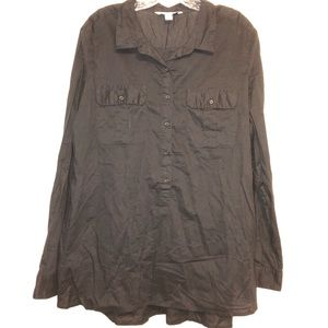 Old Navy Black Button Front Camp Shirt Size XL